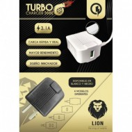 CARGADOR 220V A USB BLANCO 3.1AMP TURBO LION