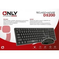 TECLADO + MOUSE USB NEGRO D5200 ONLY